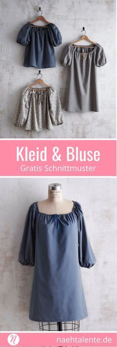 Gratis Schnittmuster für Kleid und Bluse mit gerafftem Ausschnitt für Damen. Größe S, M und L. PDF-Schnitt zum Drucken mit Nähanleitung. ✂️ Nähtalente - Magazin für kostenlose Schnittmuster ✂️ Free PDF sewing pattern for a woman dress and blouse. Sewing Pattern for print at home in size S, M and L ✂️ Nähtalente - Magazin for sewing and free sewing pattern ✂️ #nähen #freebook #schnittmuster #gratis #nähenmachtglücklich #freesewingpattern #handmade #diy