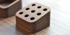 Minimalist, solid wood pencil holder. Black walnut with Danish oil finish. Sold in the UK by De La Espada.