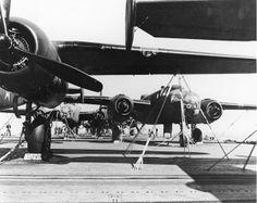 B-25s sit aboard USS Hornet in anticipation of the Doolittle Raid.