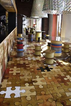 Love puzzles!  Not sure about the white and black  pieces though...22 Unique Flooring Ideas For Any Room