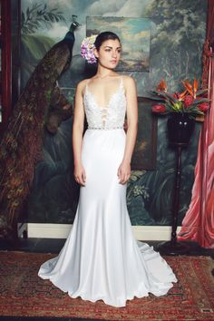 anna georgina 2015 bridal spagetti strap plunging v neckline floral embroidery satin skirt sheath wedding dress judith -- Anna Georgina 2015 Wedding Dresses 2015 Wedding Dresses, Wedding Attire, Bridal Dresses, Wedding Gowns, Flower Girl Dresses, Bridesmaid Dresses, Bridal Gown, Photomontage, Gorgeous Wedding Dress