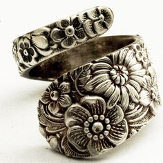 Antique Stieff Floral Sterling Silver Spoon Ring Made by Spoonier on etsy