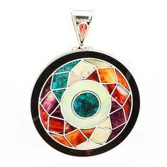 Colgante Flor Mosaico. Colgante de plata con mosaico de nácar, spondylus y crisocola. www.ccusi.com