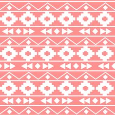 coral tribal rows fabric by >>mintpeony<< on Spoonflower - custom fabric