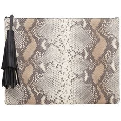 MANGO Snake-Finish Leather Clutch (€35) ❤ liked on Polyvore featuring bags, handbags, clutches, genuine leather handbags, snake handbags, real leather purses, mango handbags and mango purse