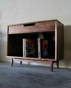 Solid Walnut Record Cabinet - Handmade by WileyJames on Etsy