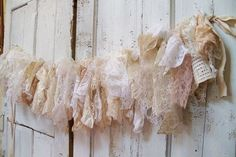 Shabby chic fabric garland wall hanging homemade romantic lace white cream vanilla home decor Christmas decoration.This would make a darling window header. Shabby Chic Fabric, Shabby Chic Crafts, Vintage Shabby Chic, Shabby Chic Homes, Shabby Chic Decor, Fabric Garland, Lace Garland, Lace Bunting, Shabby Chic Christmas