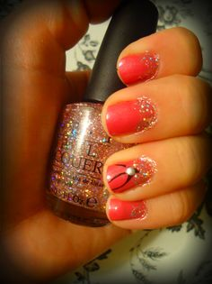 love the glitter at the nail bed...everyone always does tips.