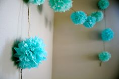 Aqua Love ... diy tissue paper pom garland // nursery // weddings // birthdays // party decorations. $20.00, via Etsy.