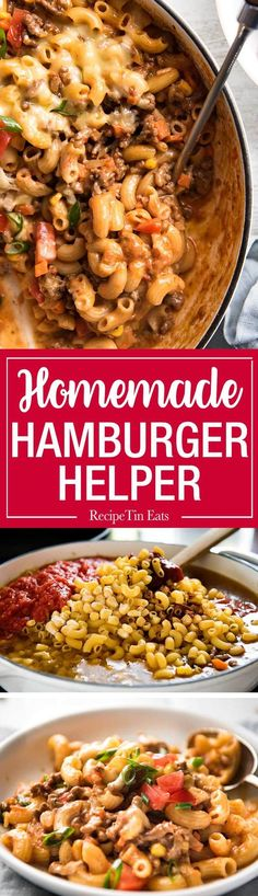 Cheeseburger Casserole / Homemade Hamburger Helper - Beefy, cheesy and saucy, this is a homemade version of the American favourite Hamburger Helper. One pot, 30 minutes! www.recipetineats.com