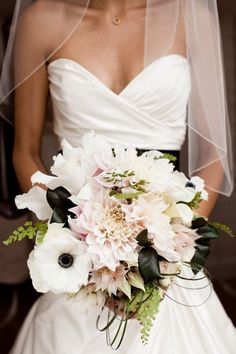 Each bridesmaid bouquet was a all white of a particular flower. Then the bride took one of each of their flowers to make her bouquet. Love the black leaves and anemones. Bouquet Pastel, Anemone Bouquet, Black Bouquet, Anemones, Bouquet Flowers, Wedding Bells, Our Wedding, Dream Wedding, Perfect Wedding