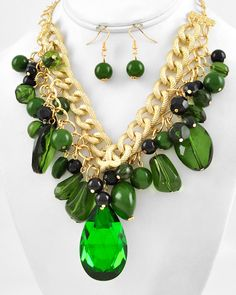 Gold Tone / Green Glass & Acrylic / Lead Compliant / Cluster Necklace & Fish Hook Earring Set