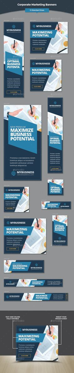 Corporate Marketing Banners Template #design #web #ads Download: http://graphicriver.net/item/corporate-marketing-banners/12688167?ref=ksioks