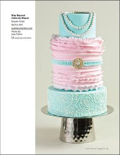 Pink and aqua ruffle cake with pearls...beautiful!