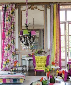 bright colors. interior design. chandelier. colorful.