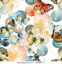 Art Print: Abstract Watercolor Circles and Butterfly Seamless Pattern by tanycya : Hanging Canvas, Canvas Frame, Canvas Wall Art, Watercolor Circles, Abstract Watercolor, Butterfly Wall Decor, Vivid Imagery, Square Canvas, Detail Art