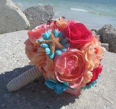 Coral And Teal Flower Bridal Bouquet Bridesmaid sugar wedding pink blue aqua  florida tropical seashell beach starfish