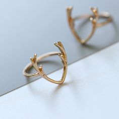 Antlers Pendant Rings Fashion Jewelry For Women Gold Silver Color For Couple Ring Lovely Accessories HOT Sale