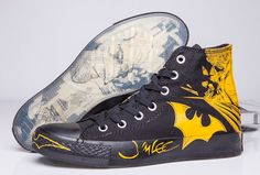 c48e1c474e09 Black Yellow Batman Converse DC Comics High Tops Chuck Taylor All Star  Canvas Shoes  converse