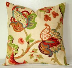 Beige Red and Lime Green Decorative Pillows Accent Pillows Throw Pillow Cushion Cover