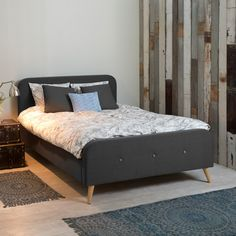 Doppelbett Klink - Webstoff - 180 x 200cm - Dunkelgrau