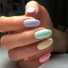 Nail art is a very popular trend these days and every woman you meet seems to have beautiful nails. It used to be that women would just go get a manicure or pedicure to get their nails trimmed and shaped with just a few coats of plain nail polish. Summer Acrylic Nails, Spring Nail Art, Summer Nails, Acrylic Nails Pastel, Pastel Color Nails, Cute Nail Colors, Cute Spring Nails, Pastel Nail Polish, Spring Nail Colors
