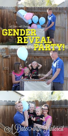 Quick & easy gender reveal party! This was so fun! Having both color of ballons in the box had people guessing until the last one stayed. ~A Date with Pinterest