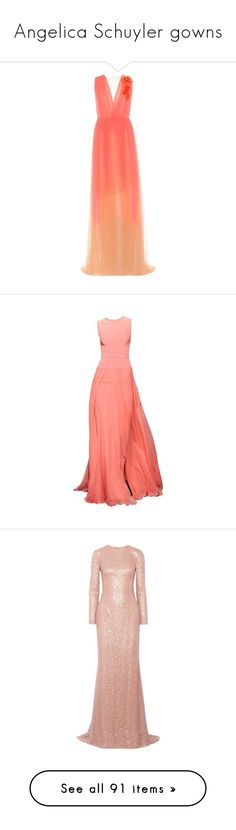 """""""Angelica Schuyler gowns"""" by silverbellatrix ❤ liked on Polyvore featuring orange, delpozo, dresses, gowns, long dresses, maxi dresses, sequin gown, evening maxi dresses, sequin ball gown and maxi gowns"""
