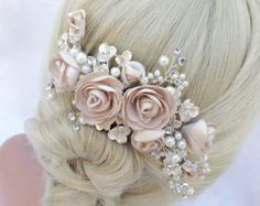 Crystal and Freshwater Pearl Bridal Hairclip by AGoddessDivine
