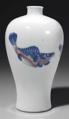 A small copper-red and underglaze blue-decorated vase, meiping, Kangxi period - Alain. Porcelain Ceramics, Ceramic Vase, Ceramic Pottery, White Ceramics, Pottery Art, Art Nouveau, Copper Red, Chinese Ceramics, Chinese Antiques