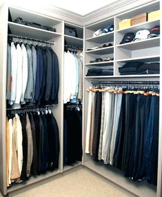 Brian Gluckstein - masculine gray closet with clothes rail storage and shelves for shoes, sweaters and hats. My future Closet Clean, Simple Closet, Cleaning Closet, Closet Redo, Mens Closet Organization, Closet Storage, Organization Ideas, Walking Closet, Walk In Closet Design