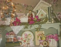A shabby chic Christmas, Pink roses, Angels...photo by Julie Cruzan