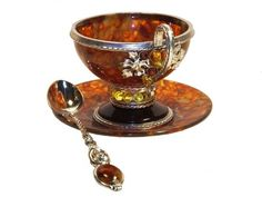 Beautiful Antique Russian Amber and Silver Cup, Saucer and Spoon, early Teapots And Cups, Teacups, Cafetiere, China Tea Cups, My Cup Of Tea, Chocolate Coffee, Tea Cup Saucer, Vintage Tea, Tea Time