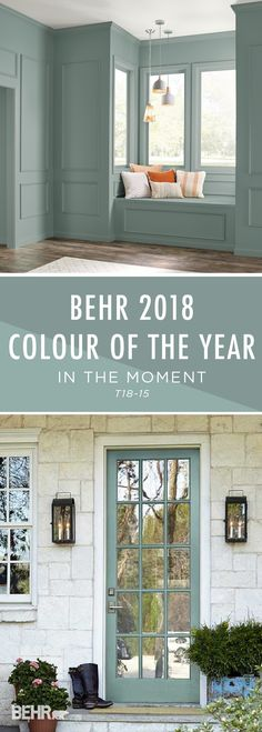 Introducing the BEHR 2018 Color of the Year: In The Moment. With undertones of b… Introducing the BEHR 2018 Color of the Year: In The Moment. With undertones of blue, gray, and green, this calming paint color helps to create a relaxing space in your home, Interior And Exterior, House, Home, Paint Colors For Home, Calming Paint Colors, House Exterior, New Homes, Room Colors, Door Color