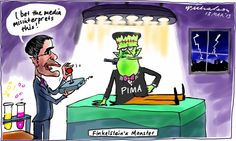 Finkelstein's monster Conroy at the controls PIMA media cartoon (13 March 2013-03)