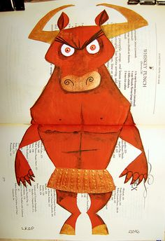 #77 - Minotaur - Mixed Media painting in Altered Book - by Laura DP / Pict Ink