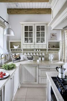 cool 80 Elegant White Shabby Chic Kitchen Wall Shelves https://homedecort.com/2017/04/elegant-white-shabby-chic-kitchen-wall-shelves/