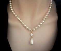 Gold pearl drop necklace  Swarovski pearls  by QueenMeJewelryLLC