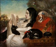 Beautiful painting with King Charles Spaniels