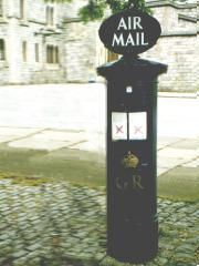 Blue pillar box with AIR MAIL sign. and double collectin plate one for collection times and one for air mail postage rates. Letter Boxes, Rochdale, Postage Rates, Mail Sign, Post Box, Bloom, Plate, Times, Lettering