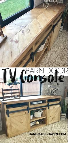 DIY Sliding Barn Door TV Console #tvstand #barndoor #console