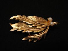 Vintage Gold Tone and White Faux Pearl Feather Leaves by ditbge, $7.25