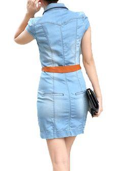 Light Blue Belt Turndown Collar Wrap Denim Dress