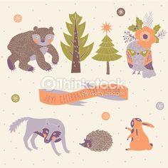 Vector set of cute wild animals in the winter forest by Lavandaart, via ShutterStock Cute Wild Animals, Free Vector Art, Image Now, Moose Art, Royalty Free Stock Photos, Kids Rugs, Joy, Seasons, Illustration