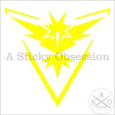 Pokemon Go Inspired Team Instinct Team Yellow Custom Decal Sticker by AStickyObsession on Etsy