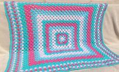Handmade Shabby Chic Retro Crochet Blanket: Spring Candy #BabyShowerGift #white #blue #green #baby #bright #HomeDecor #acrylic #GrannySquare #pink Blue Green, Blue And White, Soft Blankets, Cute Bunny, Crochet Fashion, Bright Pink, Baby Shower Gifts, Shabby Chic, Candy