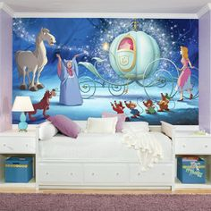 Found it at Wayfair - Disney Princess Cinderella Carriage Chair Rail Prepasted Wall Mural