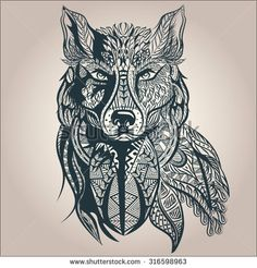 Mosaic wolf tattoo