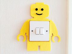 Lego Man Light Switch Wall Sticker, Available In Blue & Yellow 2 Colours! Kids Children Girls Boys Bedroom Nursery Decor! Free Delivery In 2 To 3 Working Days! (Lego Man (Yellow)(18.5*20cm))