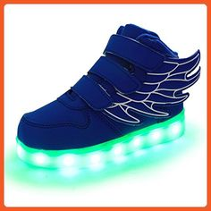 Uerescha Little Boys Girls LED Light Up Glow Shoes USB Charging Flashing Running Sneakers with Wings Blue - Sneakers for women (*Amazon Partner-Link)